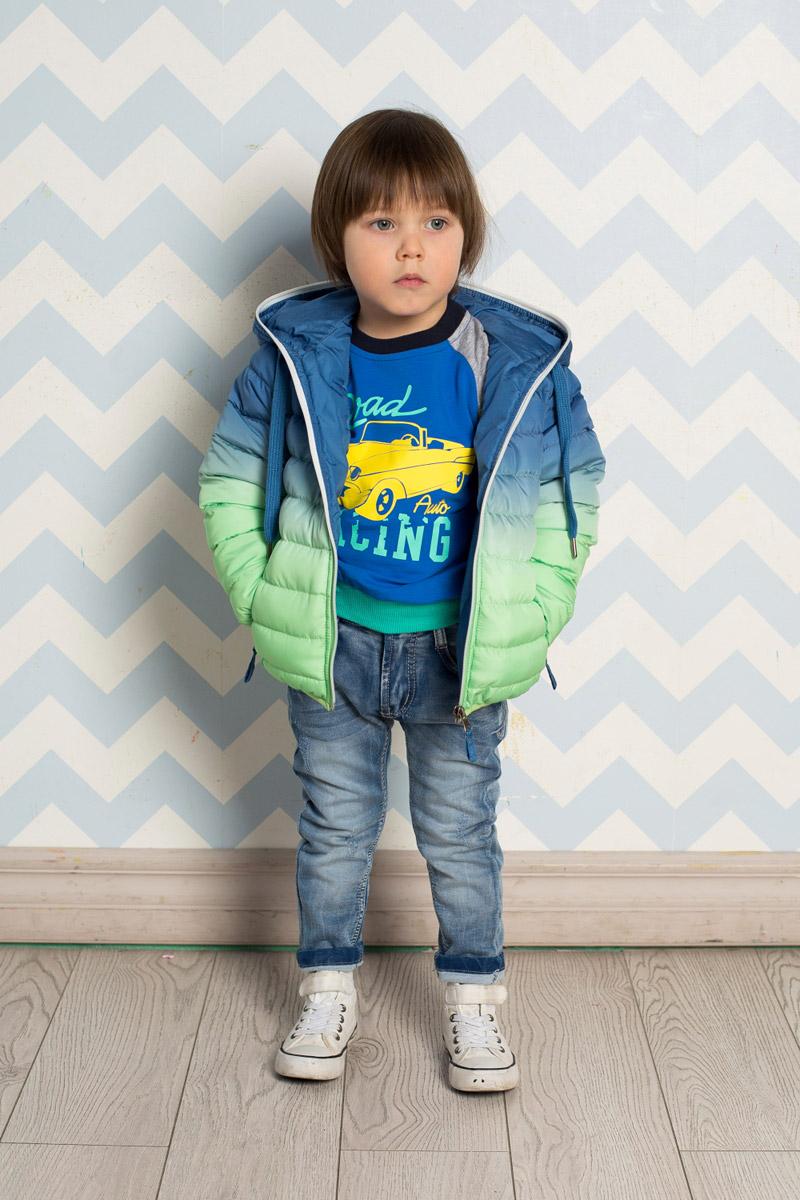 Куртка для мальчика Sweet Berry Baby, цвет: синий, салатовый. 711001. Размер 92711001Стильная стеганая куртка для мальчика Sweet Berry, изготовленная из качественного материала градиентного цвета, станет отличным дополнением к гардеробу вашего ребенка. Утепленная модель с капюшоном, дополнительно регулируемым шнурком, застегивается на молнию и дополнена двумя прорезными карманами на молниях. Манжеты рукавов и низ изделия дополнены мягкими резинками. Комфортная температура эксплуатации: от 0 до+10°С.