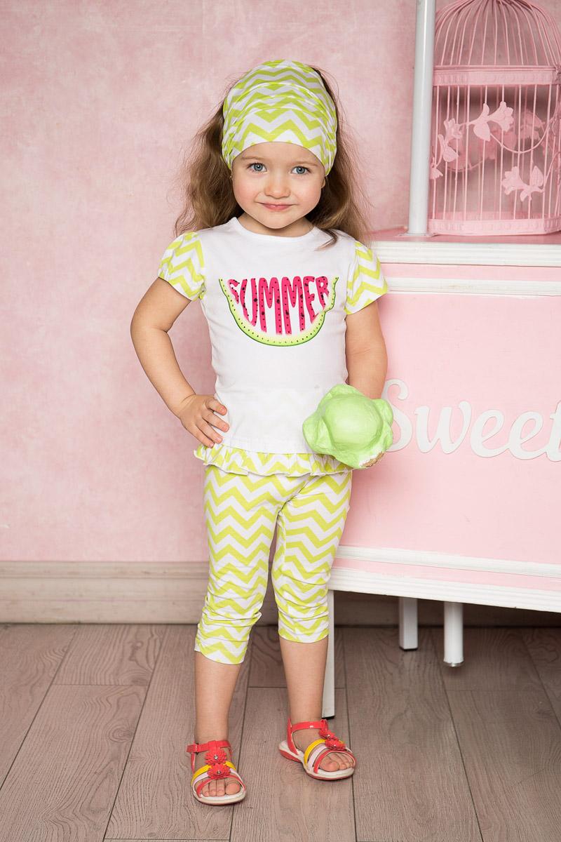 Лосины для девочки Sweet Berry Baby, цвет: белый, салатовый. 712107. Размер 98712107Яркие лосины для девочки Sweet Berry выполнены из качественного хлопкового материала и оформлены оригинальным принтом. Укороченная модель стандартной посадки на талии имеет пояс на мягкой резинке. Низ брючин с боков оформлен эластичной сборкой.