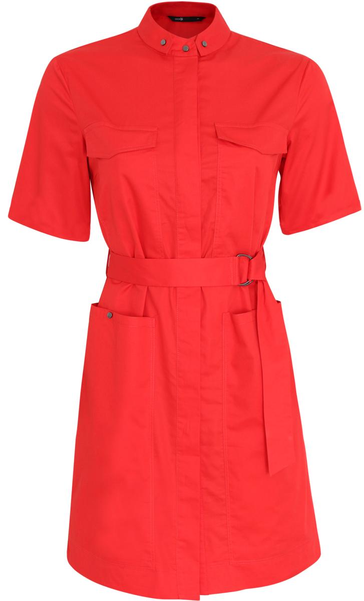 Платье-рубашка oodji Ultra, цвет: красный. 11909002/33113/4500N. Размер 34-170 (40-170)11909002/33113/4500NОригинальное платье-рубашка oodji Ultra выполнено из натурального хлопка. Модель мини-длины с воротничком-стойкой и короткими рукавами застегивается на груди на кнопки, скрытые планкой.Изделие дополнено двумя накладными карманами с клапанами на груди и двумя накладными карманами на кнопках на подоле. В комплект с платьемвходит текстильный пояс металлическими кольцами.