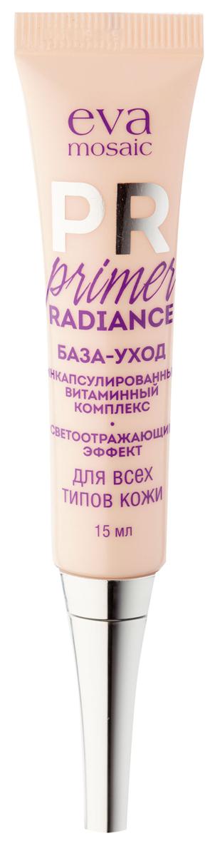 Eva Mosaic База-уход под тональный крем Primer Radiance, 15 мл821436Primer Radiance подготавливает кожу для нанесения макияжа, улучшает его стойкость и мгновенно придает ей здоровый естественный вид. Инновационная формула с микроинкапсулированными цветными гранулами корректирует и выравнивает тон кожи.Защищает кожу лица от вредных факторов окружающей среды благодаря входящим в состав умным микрогранулам витаминов, которые раскрываются только при контакте с кожей. Содержит цветочный экстракт для интенсивного и длительного увлажнения. Благодаря мельчайшим свет
