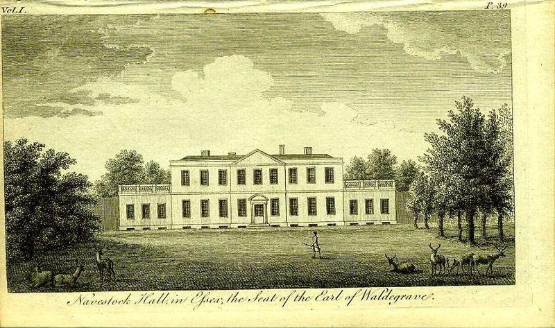 Англия. Навсток Холл в Эссексе, поместье графа Уальдергрейва. Резцовая гравюра. Англия, Лондон, 1776 год