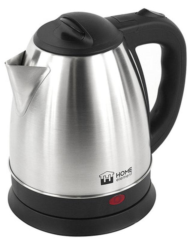 Home Element HE-KT175, Black Silver электрический чайникHE-KT175Home Element HE-KT175 - отличный чайник на 1,7 литра для большой семьи, мощностью 1800 Вт. Вскипятит воду быстро. Автоматика отключит чайник, если в нем нет воды или она вскипела. Для удобства пользования чайник снабжен индикатором работы и кнопкой открытия крышки. Закрытый нагревательный элемент избавит от коррозии и накипи.