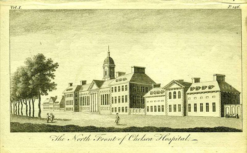 Англия. Королевский военный госпиталь в Челси. Северный фасад. Резцовая гравюра. Англия, Лондон, 1776 год