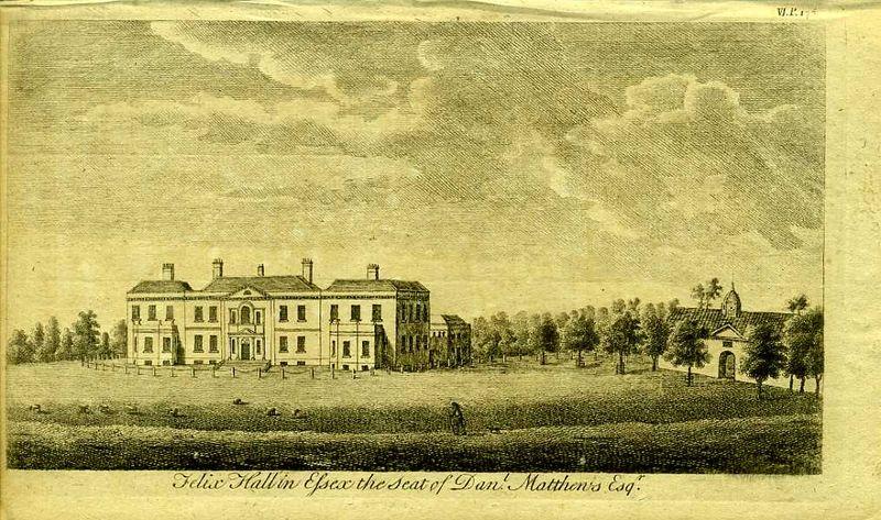 Англия. Феликс Холл, поместье Даниэля Метью. Резцовая гравюра. Англия, Лондон, 1776 год