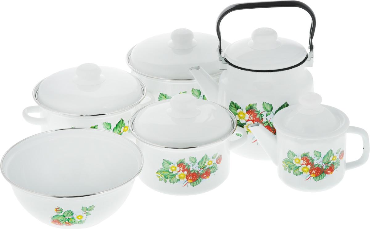 Набор посуды Эмаль Лесная ягода, 11 предметов2-3027/4Набор посуды Эмаль Лесная ягода, состоящий из миски, трех кастрюль и двух чайников с крышками, изготовлен из высококачественной стали с эмалированным покрытием и оформлен изображением ягод. Эмалевое покрытие, являясь стекольной массой, не вызывает аллергии и надежно защищает пищу от контакта с металлом. Внутренняя поверхность идеально ровная, что значительно облегчает мытье. Покрытие устойчиво к механическому воздействию, не царапается и не сходит, а стальная основа практически не подвержена механической деформации, благодаря чему срок эксплуатации увеличивается. Кастрюли и чайники оснащены крышками, выполненными из стали с эмалированным покрытием, которые имеют удобные пластиковые ручки. Подходят для всех типов плит, включая индукционные. Можно мыть в посудомоечной машине. Высота стенок кастрюль: 10,5 см; 12 см; 13 см. Диаметр кастрюль (по верхнему краю): 16,5 см; 18,5 см; 20 см. Ширина кастрюль (с учетом ручек): 22,5 см; 24,5 см; 26,5 см.Объем кастрюль: 2 л; 3 л; 4 л. Диаметр чайников (по верхнему краю): 11 см; 14 см. Высота чайников (без учета крышки и ручки): 11,5 см; 15 см. Объем чайников: 1 л; 3,5 л. Диаметр миски (по верхнему краю): 23 см. Высота стенок миски: 9,5 см. Объем миски: 2,5 л.