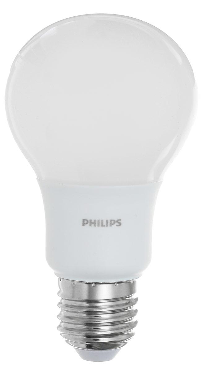 Лампа светодиодная Philips LED bulb, цоколь E27, 9W, 6500KЛампа LEDBulb 9-70W E27 6500K230VA60/PFСовременные светодиодные лампы LED bulb экономичны, имеют долгий срок службы и мгновенно загораются, заполняя комнату светом. Лампа классической формы и высокой яркости позволяет создать уютную и приятную обстановку в любой комнате вашего дома.Светодиодные лампы потребляют на 90% меньше электроэнергии, чем обычные лампы накаливания, излучая при этом привычный и приятный свет. Срок службы светодиодной лампы LED bulb составляет не менее 25 000 часов, благодаря чему менять лампы приходится значительно реже, что сокращает количество отходов.Напряжение: 220-240 В.