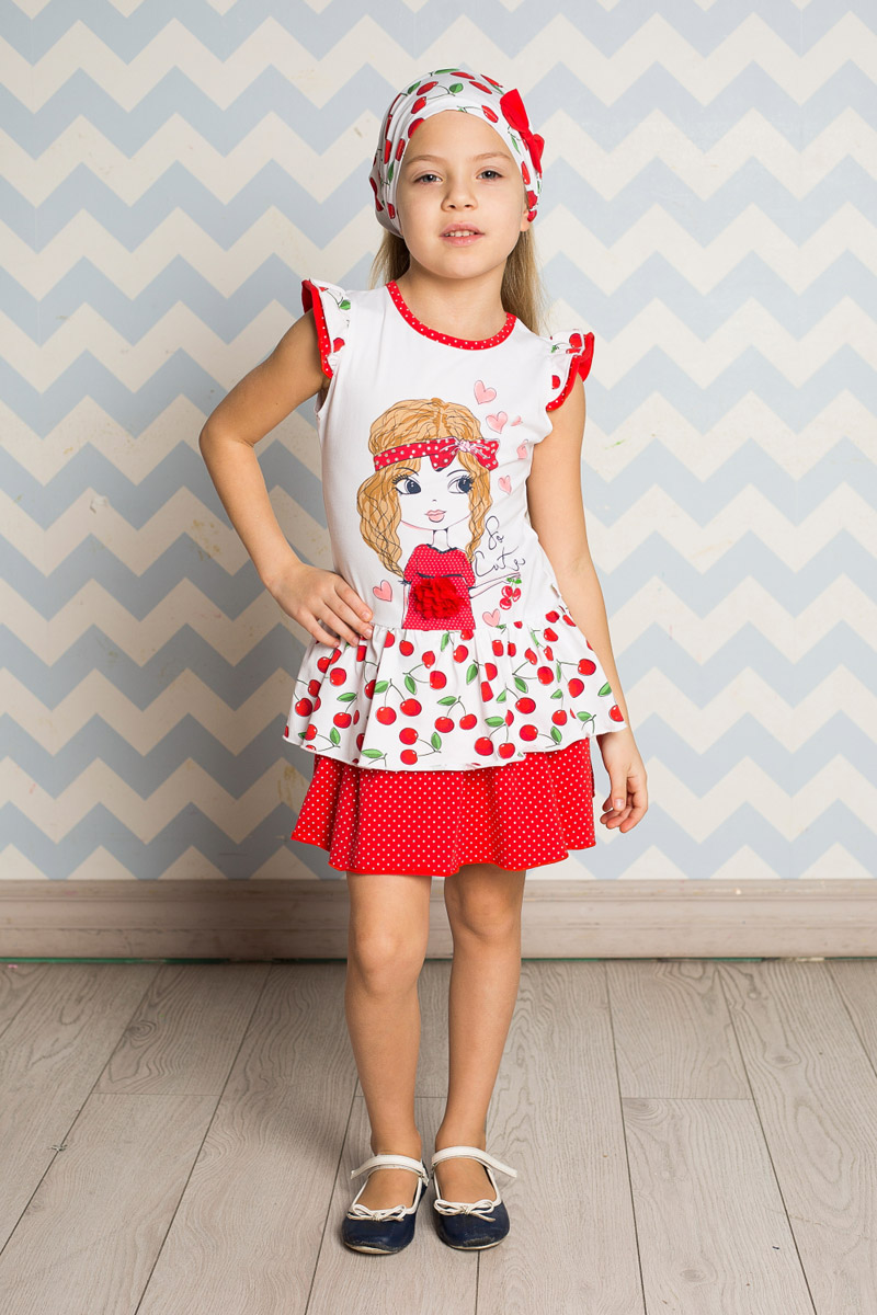Платье для девочки Sweet Berry, цвет: белый, красный. 714155. Размер 116714155Яркое платье для девочки Sweet Berry выполнено из высококачественного эластичного хлопка. Модель приталенного кроя с двухслойной юбкой-воланом и двухслойными рукавами-крылышками оформлена аппликацией и принтами в горошек и вишенку. Круглый вырез горловины дополнен мягкой эластичной бейкой.