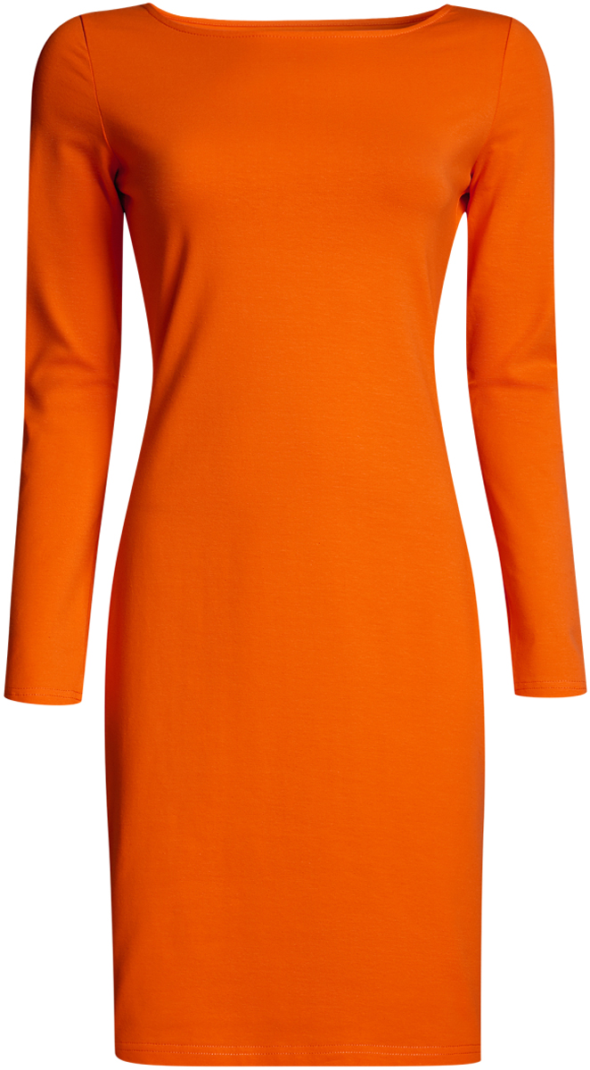Платье oodji Ultra, цвет: оранжевый. 14001183B/46148/5500N. Размер L (48-170) пуловеры oodji пуловер