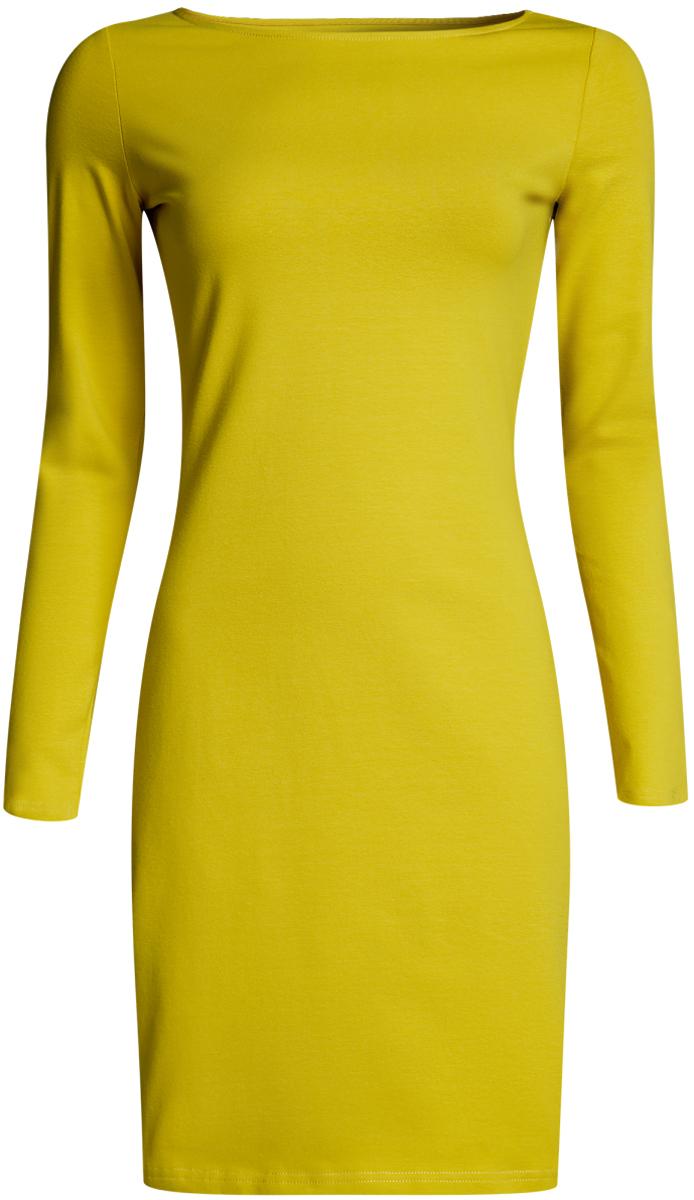 Платье oodji Ultra, цвет: желто-зеленый. 14001183B/46148/6700N. Размер XS (42-170)14001183B/46148/6700NПлатье oodji Ultra облегающего силуэта выполнено из эластичного хлопка. Модель средней длины с круглым вырезом горловиныи длинными рукавамивыгодно подчеркивает достоинства фигуры.