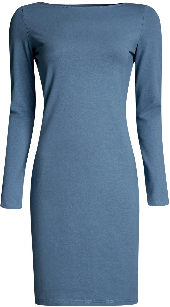 Платье oodji Ultra, цвет: голубой. 14001183B/46148/7400N. Размер XXS (40-170) болеро oodji ultra цвет красный 14607001 1 24438 4500n размер xxs 40
