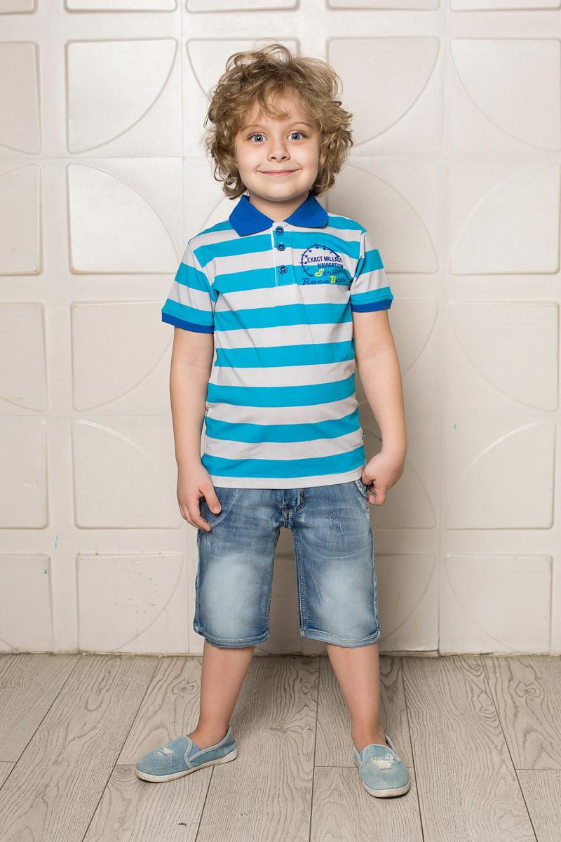 Футболка-поло для мальчика Sweet Berry, цвет: синий, бирюзовый. 713090. Размер 128713090Стильная футболка-поло для мальчика Sweet Berry, выполненная из качественного эластичного хлопка в крупную полоску, станет отличным дополнением к детскому гардеробу. Модель свободного кроя застегивается на пуговицы и оформлена оригинальным принтом. Классический отложной воротничок и манжеты рукавов выполнены из материала контрастного цвета.