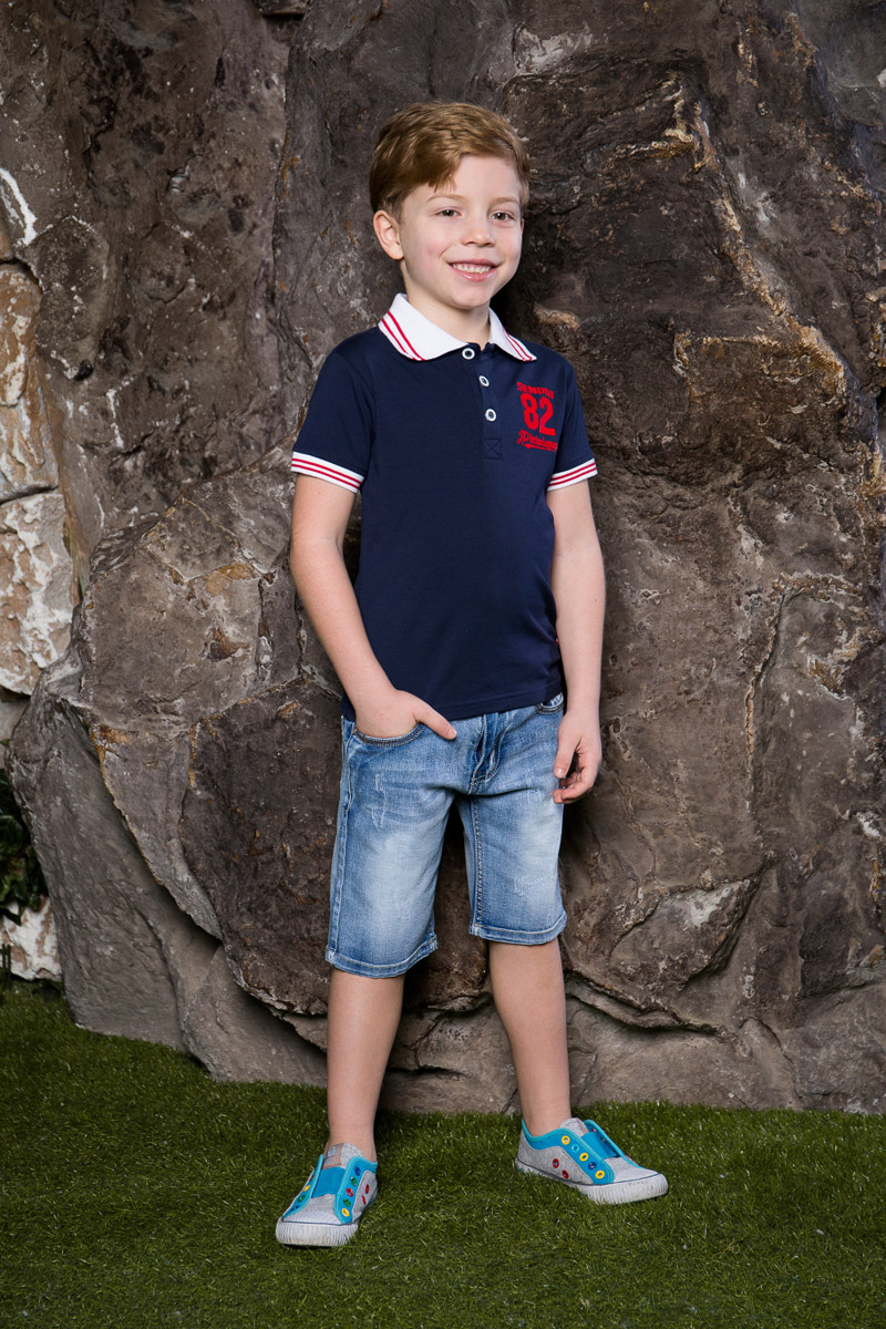 Футболка-поло для мальчика Sweet Berry, цвет: темно-синий. 713015. Размер 98