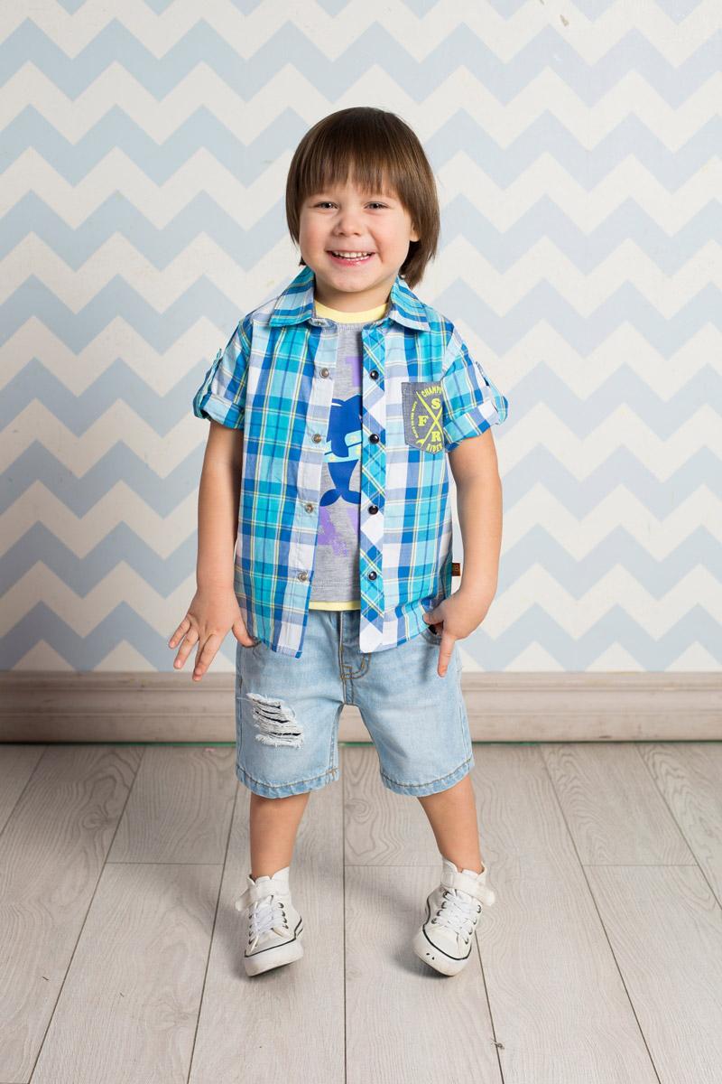 Рубашка для мальчика Sweet Berry Baby, цвет: бирюзовый, синий. 711038. Размер 86711038Стильная рубашка для мальчика Sweet Berry, изготовленная из натурального хлопка с принтом в клетку, станет отличным дополнением к гардеробу вашего ребенка. Модель прямого кроя с короткими рукавами и отложным воротничком застегивается на кнопки. Изделие дополнено накладным карманом контрастного цвета. Рукава подворачиваются и фиксируются хлястиками на кнопках.