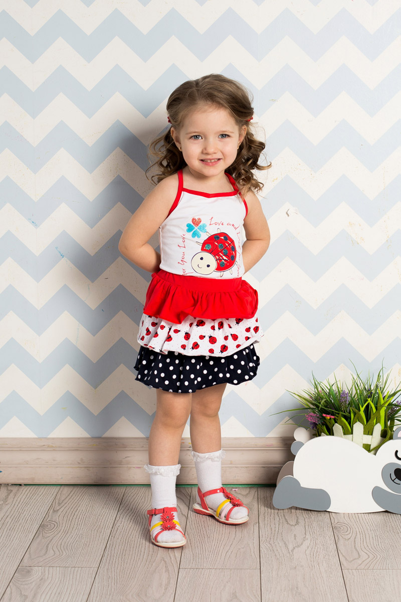 Топ для девочки Sweet Berry Baby, цвет: белый. 712140. Размер 80712140Яркий топ для девочки Sweet Berry, выполненный из качественного эластичного хлопка с забавным принтом, станет отличным дополнением к детскому гардеробу. Бретели, регулирующиеся по длине, выполнены из материала контрастного цвета.