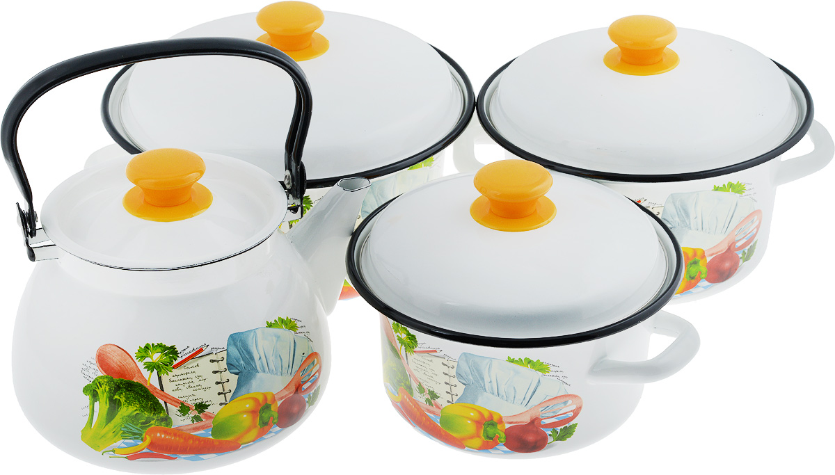 Набор посуды КМК Готовим вместе, 7 предметовГотовим вместеНабор посуды КМК Готовим вместе состоит из 3 кастрюль разного объема, 3 крышек и чайника. Изделия выполнены из качественной эмалированной стали. Эмаль защищает сталь от коррозии, придает посуде гладкую поверхность и надежно защищает от кислот и щелочей. Эмаль устойчива к пищевым кислотам, не вступает во взаимодействие с продуктами и не искажает их вкусовые качества. Прочный стальной корпус обеспечивает эффективную тепловую обработку пищевых продуктов и не деформируется в процессе эксплуатации. Внешняя поверхность изделий оформлена красочным цветочным рисунком. Кастрюли и чайник снабжены стальными крышками с удобными пластиковыми ручками. Чайник имеет прочную подвижную металлическую ручку. Посуда подходит для газовых, электрических, стеклокерамических и индукционных плит. Объем кастрюль: 2 л; 3 л; 4 л. Диаметр кастрюль (по верхнему краю): 20,5 см; 23 см; 26 см. Ширина кастрюль (с учетом ручек): 26,5 см; 29 см; 32 см. Высота стенки кастрюль: 9,5 см; 11,5 см; 13 см. Диаметр индукционного дна кастрюль: 15,5 см; 18 см; 20,5 см.Объем чайника: 3 л. Высота чайника (без учета крышки и ручки): 14 см. Диаметр чайника (по верхнему краю): 14,5 см.Диаметр индукционного дна чайника: 15 см.
