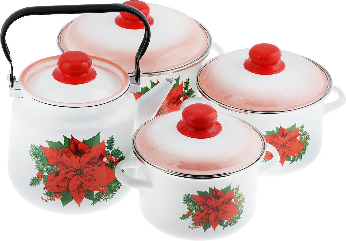 Набор посуды Стальэмаль Красный цветок, 8 предметов7КВ201МНабор посуды Стальэмаль Красный цветок, состоящий из чайника и трех кастрюль с крышками, изготовлен из высококачественной стали с эмалированным покрытием и оформлен изображением цветов. Эмалевое покрытие, являясь стекольной массой, не вызывает аллергии и надежно защищает пищу от контакта с металлом. Внутренняя поверхность идеально ровная, что значительно облегчает мытье. Покрытие устойчиво к механическому воздействию, не царапается и не сходит, а стальная основа практически не подвержена механической деформации, благодаря чему срок эксплуатации увеличивается. Кастрюли и чайник оснащены крышками, выполненными из стали с эмалированным покрытием, которые имеют удобные пластиковые ручки. Чайник оснащен стальной ручкой. Подходят для всех типов плит, включая индукционные. Можно мыть в посудомоечной машине. Высота стенок кастрюль: 11,5 см; 12 см; 14,5 см. Диаметр кастрюль (по верхнему краю): 16 см; 18 см; 22 см. Ширина кастрюль (с учетом ручек): 22,5 см; 24,5 см; 29 см.Объем кастрюль: 2 л; 3 л; 5,5 л. Диаметр чайника (по верхнему краю): 14 см. Высота чайника (без учета крышки и ручки): 17 см. Объем чайника: 3,5 л.