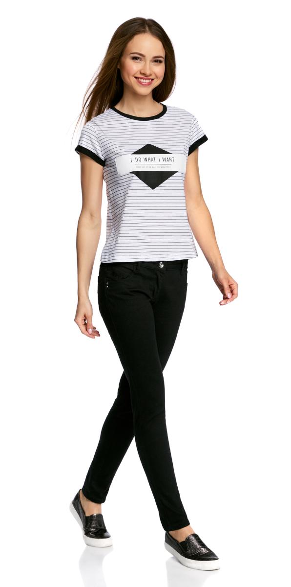 Футболка женская oodji Ultra, цвет: белый, темно-синий. 14701056/16447/1079S. Размер XL (50) футболка женская oodji ultra цвет бледно желтый 14701046 10577 5000n размер xl 50
