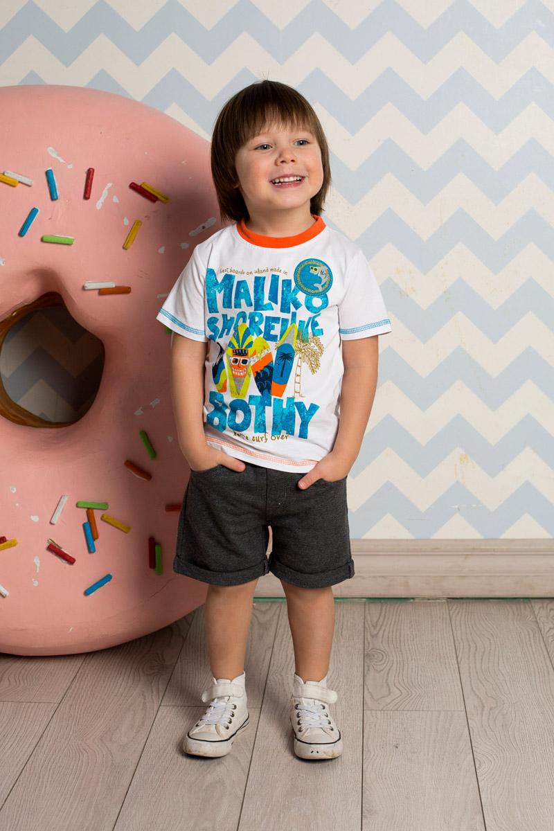 Футболка для мальчика Sweet Berry Baby, цвет: белый. 711017. Размер 80711017Яркая футболка для мальчика Sweet Berry, выполненная из качественного эластичного хлопка, станет отличным дополнением к детскому гардеробу. Модель с круглым вырезом горловины оформлена оригинальным принтом и декоративной отстрочкой цветной нитью. Воротник дополнен мягкой трикотажной резинкой контрастного цвета.