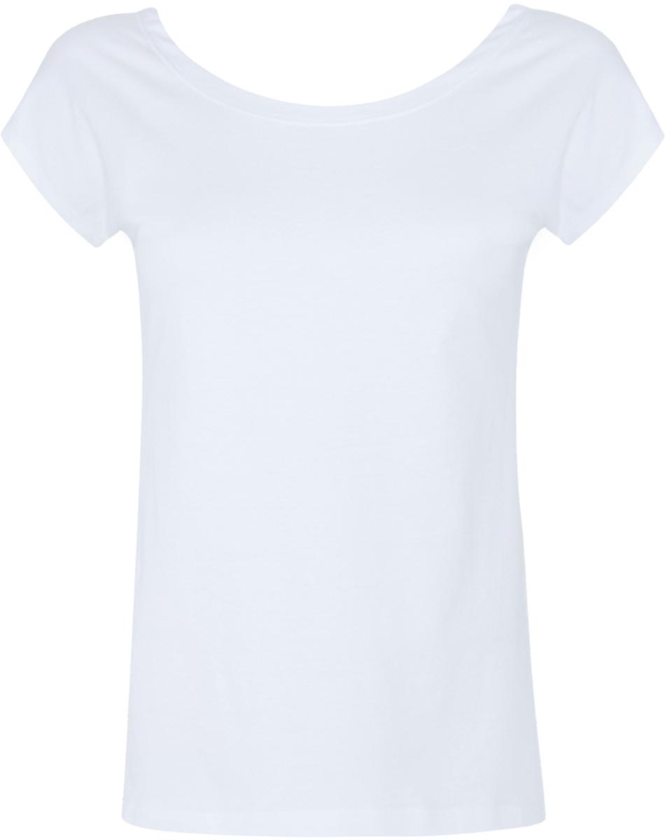 футболка женская oodji ultra цвет белый 14701005 7b 35918 1000n размер xxs 40 Футболка женская oodji Ultra, цвет: белый. 14702001/46158/1000N. Размер XXS (40)