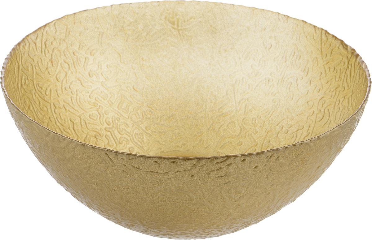 Салатник NiNaGlass Ажур, цвет: золотой, диаметр 25 см83-043-Ф250 ЗОЛМЕТСалатник NiNaGlass Ажур выполнен из высококачественного стекла и декорирован рельефным узором. Он подойдет для сервировки стола как для повседневных, так и для торжественных случаев.Такой салатник прекрасно впишется в интерьер вашей кухни и станет достойным дополнением к кухонному инвентарю. Подчеркнет прекрасный вкус хозяйки и станет отличным подарком.Не рекомендуется использовать в микроволновой печи и мыть в посудомоечноймашине. Диаметр салатника (по верхнему краю): 25 см.Высота стенки: 10 см.
