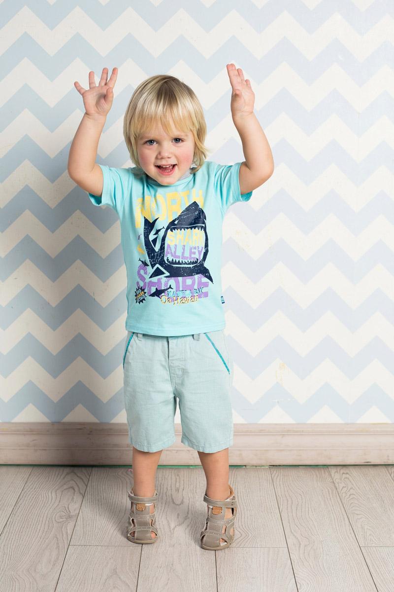 Футболка для мальчика Sweet Berry Baby, цвет: бирюзовый. 711046. Размер 80711046Яркая футболка для мальчика Sweet Berry, выполненная из качественного эластичного хлопка, станет отличным дополнением к детскому гардеробу. Модель с круглым вырезом горловины оформлена оригинальным принтом. Воротник дополнен мягкой трикотажной резинкой контрастного цвета.