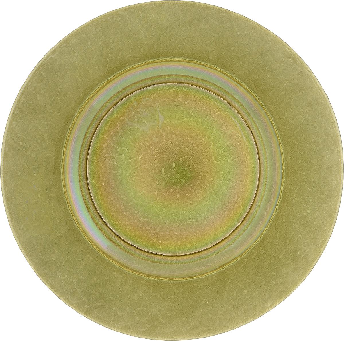 Тарелка NiNaGlass Богемия, цвет: оливковый, диаметр 32,5 см83-056-Ф320 ИТОМТарелка NiNaGlass Богемия выполнена из высококачественного стекла. Она прекрасно впишется в интерьер вашей кухни и станет достойным дополнением к кухонному инвентарю.Не рекомендуется использовать в микроволновой печи и мыть в посудомоечной машине.