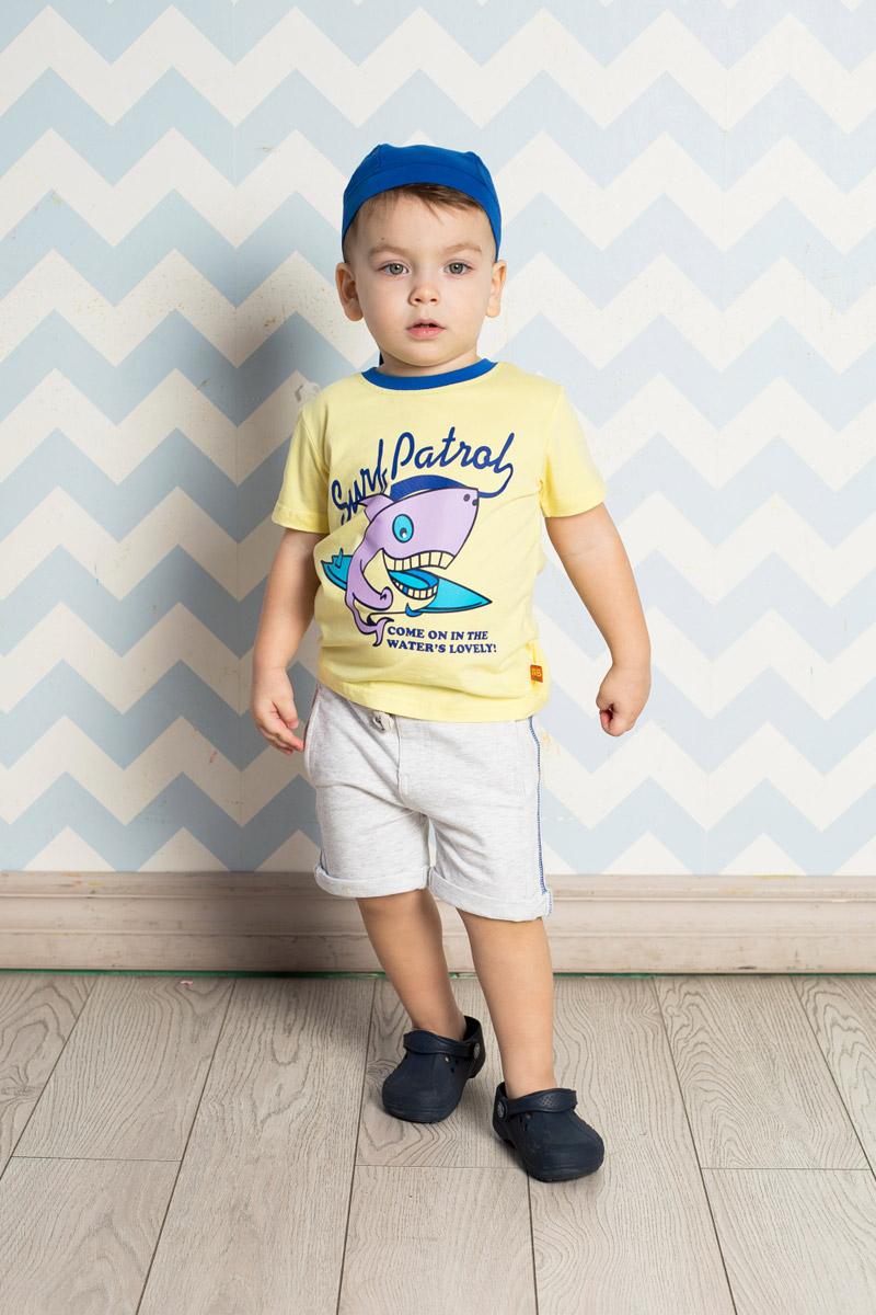 Футболка для мальчика Sweet Berry Baby, цвет: желтый. 711056. Размер 86711056Яркая футболка для мальчика Sweet Berry, выполненная из качественного эластичного хлопка, станет отличным дополнением к детскому гардеробу. Модель с круглым вырезом горловины оформлена оригинальным принтом. Воротник дополнен мягкой трикотажной резинкой контрастного цвета.
