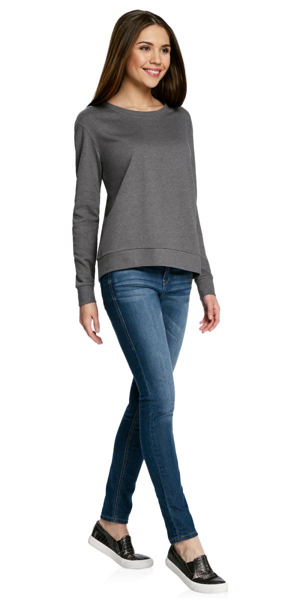 Джемпер женский oodji Ultra, цвет: темно-серый меланж. 14801049-2B/47060/2500M. Размер XXS (40) жакет женский oodji ultra цвет синий меланж 63212568b 45642 7500m размер xxs 40