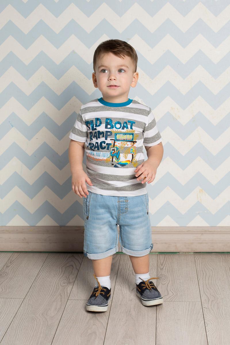 Футболка для мальчика Sweet Berry Baby, цвет: серый, белый. 711024. Размер 92711024Яркая футболка для мальчика Sweet Berry, выполненная из качественного эластичного хлопка в крупную полоску, станет отличным дополнением к детскому гардеробу. Модель с круглым вырезом горловины оформлена оригинальным принтом. Воротник дополнен мягкой трикотажной резинкой контрастного цвета.