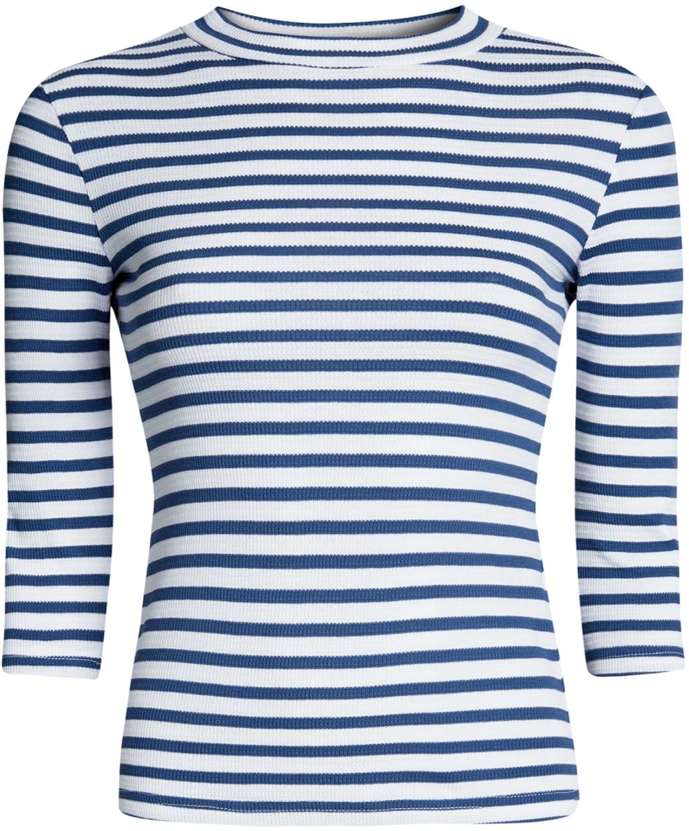 Джемпер женский oodji Ultra, цвет: белый, синий. 15E11003/45210/1075S. Размер L (48)15E11003/45210/1075SУютный женский джемпер в рубчик с круглым вырезом горловины и рукавами 3/4 выполнен из эластичного хлопка.