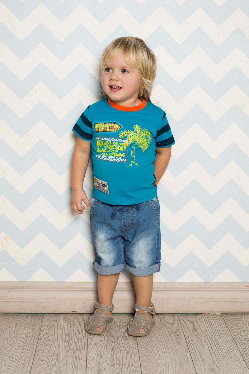 Футболка для мальчика Sweet Berry Baby, цвет: синий, голубой. 711020. Размер 80711020Яркая футболка для мальчика Sweet Berry, выполненная из качественного эластичного хлопка, станет отличным дополнением к детскому гардеробу. Полочка выполнена из однотонной ткани с ярким принтом, а спинка - из принтованой в полоску ткани. Воротник дополнен мягкой трикотажной резинкой контрастного цвета.