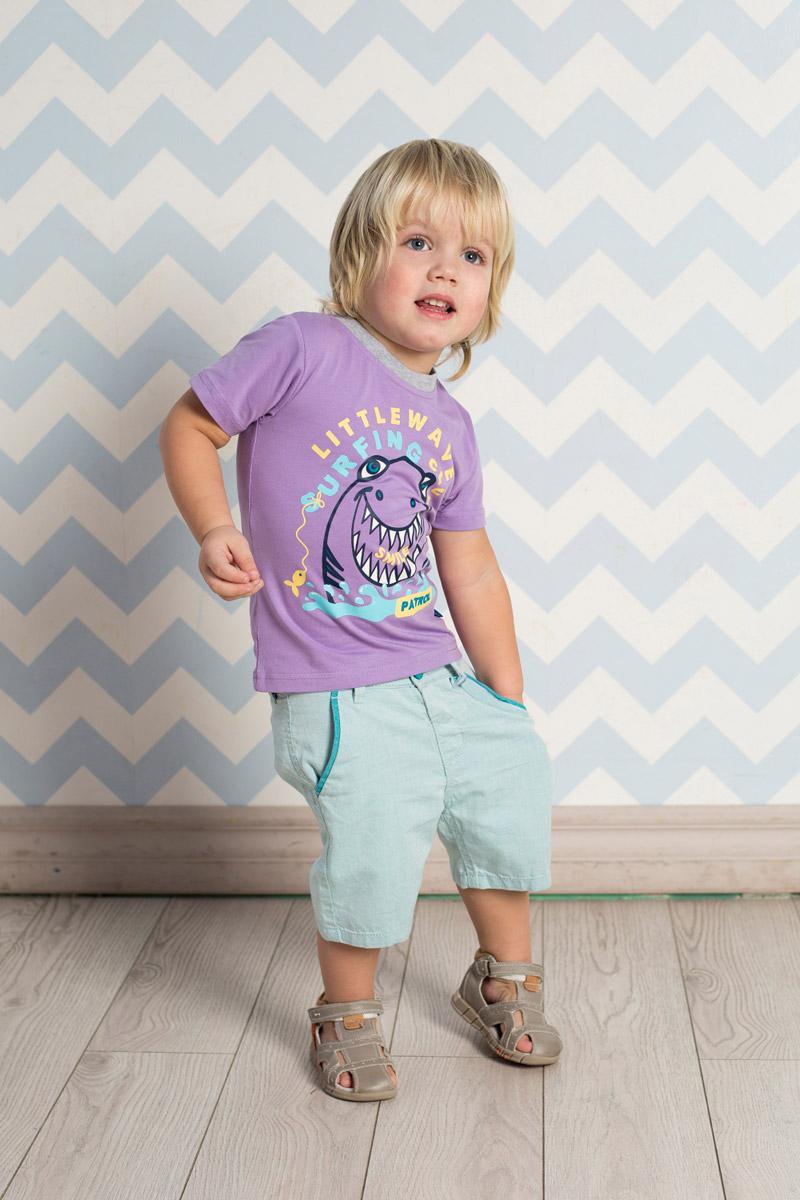 Футболка для мальчика Sweet Berry Baby, цвет: сиреневый. 711045. Размер 80711045Яркая футболка для мальчика Sweet Berry, выполненная из качественного эластичного хлопка, станет отличным дополнением к детскому гардеробу. Модель с круглым вырезом горловины оформлена оригинальным принтом. Воротник дополнен мягкой трикотажной резинкой контрастного цвета.