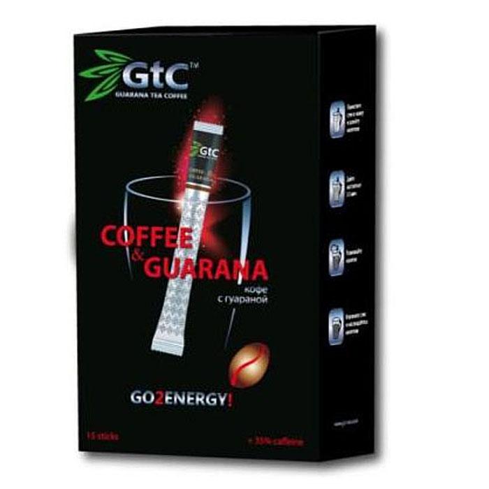 GTC кофе растворимый с гуараной в пакетиках, 15 шт00-00000407Кофе с гуараной GTC – это уникальная композиция, состоящая из молотого и сублимированного кофе с добавлением натурального экстракта гуараны. Изготовление кофе с гуараной осуществляется по бразильскому рецепту, благодаря чему готовый продукт объединяет в себе все самое лучшее.Кофе с гуараной содержит в себе целый перечень питательных веществ. Кофеин, органические кислоты и минеральные вещества оказывают тонизирующее действие на нервную систему, улучшают работу сердца и пищеварительной системы. Полифенолы, тригонелин и витамины С, Р, В1, В2, В6, В12 замедляют старение, активизируют обменные процессы, поддерживают тонус сосудов и иммунитет.