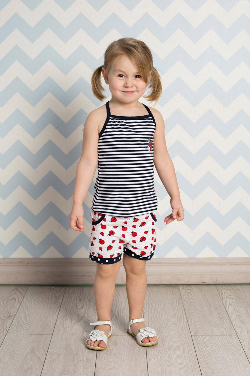 Шорты для девочки Sweet Berry Baby, цвет: белый, красный. 712063. Размер 98712063Стильные шорты для девочки Sweet Berry выполнены из мягкого трикотажного материала и оформлены принтом с божьими коровками. Модель прямого кроя с контрастными манжетами на брючинах имеет пояс на мягкой резинке, оформленный декоративным бантиком в тон манжетам. Спереди изделие дополнено двумя втачными карманами.