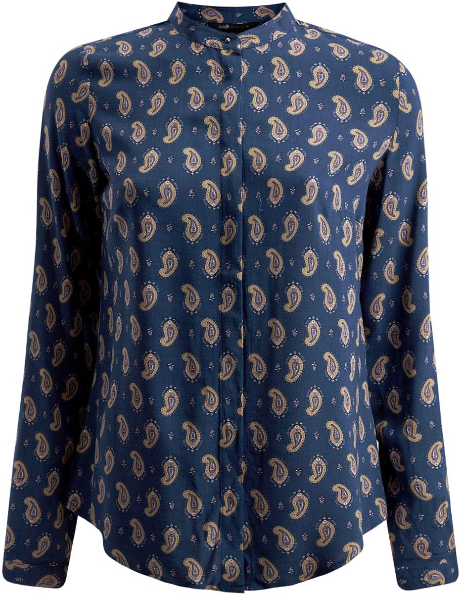 Блузка женская oodji Collection, цвет: синий, темно-бежевый. 21411063-1/26346/7535E. Размер 40-170 (46-170)