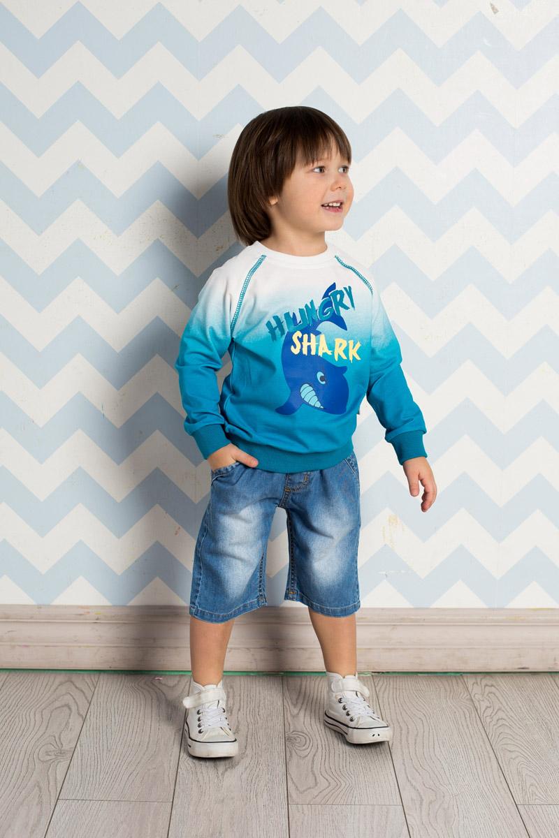 Шорты для мальчика Sweet Berry Baby, цвет: голубой. 711040. Размер 80711040Стильные джинсовые шорты для мальчика Sweet Berry выполнены из натурального хлопка с эффектом потертости. Модель имеет пояс на мягкой резинке, дополнительно регулируемый шнурком. Изделие дополнено двумя прорезными карманами спереди и оформлено принтом с задней стороны.