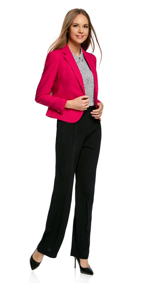 Брюки женские oodji Collection, цвет: черный. 21705079/35856/7900N. Размер 40-170 (46-170) пуловеры oodji пуловер