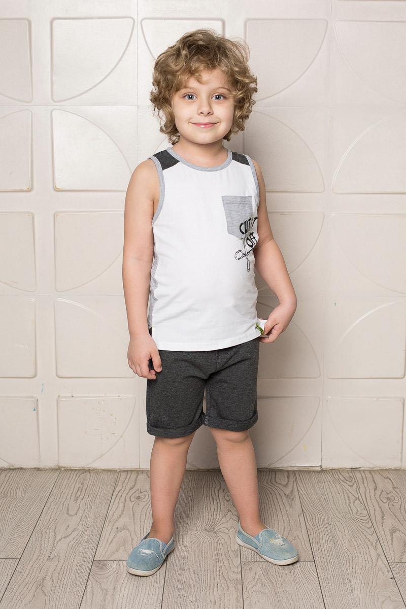 Шорты для мальчика Sweet Berry, цвет: темно-серый меланж. 713120. Размер 98