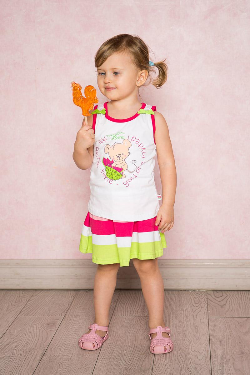 Юбка для девочки Sweet Berry Baby, цвет: белый, розовый. 712095. Размер 80712095Яркая юбка-солнце для девочки Sweet Berry выполнена из качественного эластичного хлопка в широкую полоску. Пояс собран на мягкую резинку и декорирован бантиком.