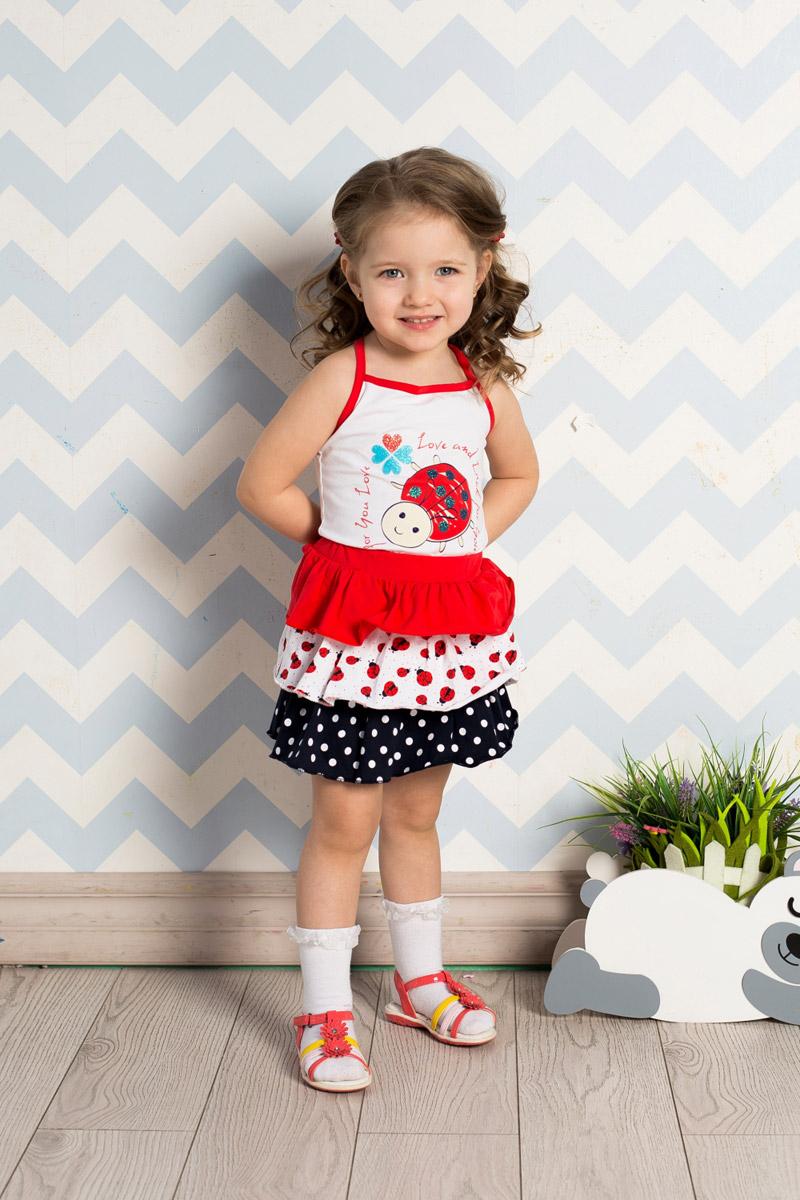 Юбка для девочки Sweet Berry Baby, цвет: красный, белый, темно-синий. 712038. Размер 80712038Яркая юбка для девочки Sweet Berry выполнена из качественного эластичного хлопка и дополнена контрастными воланами разных цветов. Пояс собран на мягкую широкую резинку.