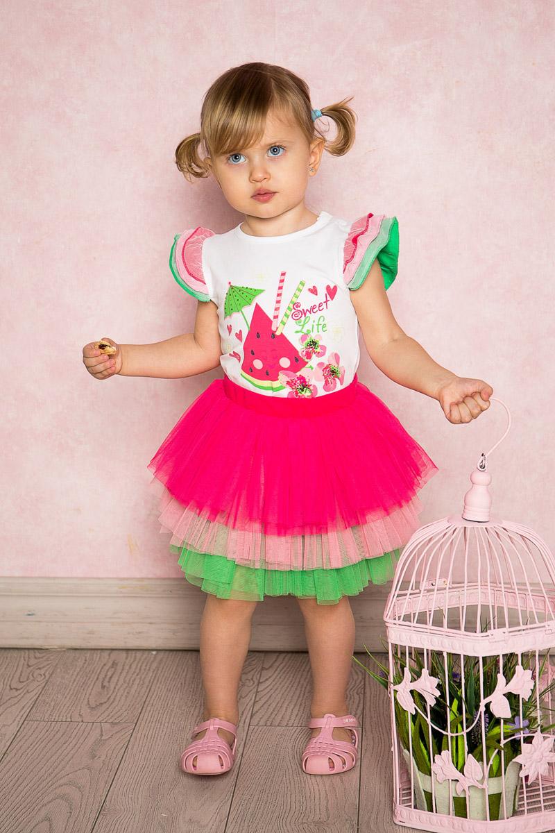 Юбка для девочки Sweet Berry Baby, цвет: розовый, зеленый. 712111. Размер 86712111Яркая юбка-пачка для девочки Sweet Berry выполнена из качественной многослойной тафты трех цветов на хлопковой подкладке. Пояс собран на мягкую эластичную резинку.