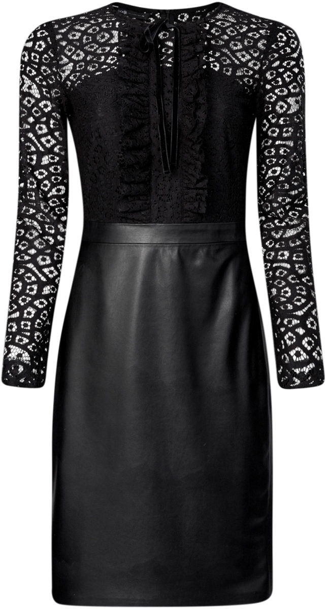 Платье oodji Collection, цвет: черный. 21913014/45945/2900N. Размер 42-170 (48-170)21913014/45945/2900NКомбинированное платье oodji Collection - стильный вариант не только для офиса, но и для любого мероприятия. Модель средней длины с имитацией 2 в 1 стилизована под блузку с юбкой. Верх платья с круглым вырезом горловины и длинными рукавами выполнен из кружевного материала и оформлен рюшами и бантиком. Низ платья выполнен из искусственной кожи и дополнен разрезом. Платье застегивается на скрытую застежку-молнию по спинке.