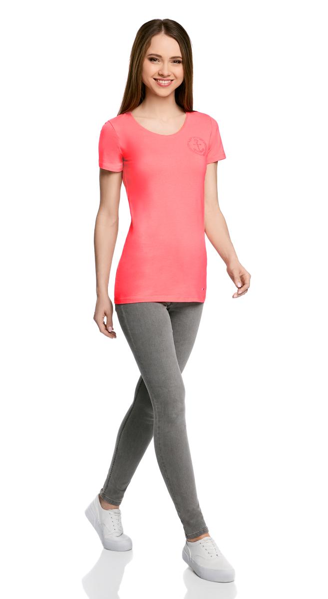 Футболка женская oodji Collection, цвет: ярко-розовый. 24711002/46840/4D00N. Размер XS (42) футболка женская oodji collection цвет белый 24711002 46840 1000n размер xs 42
