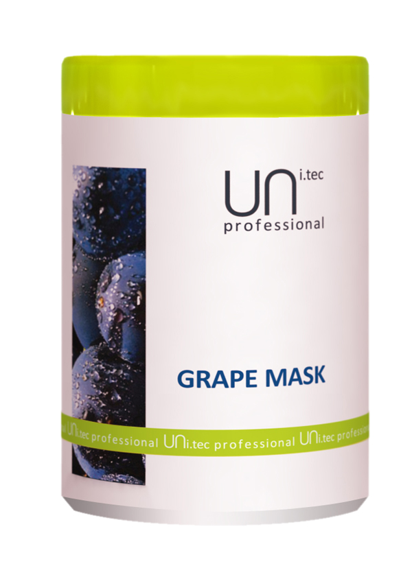Uni.tec Маска для окрашенных и химически обработанных волос Grape Mask, 1000 млU0005Действие активных компонентов кондиционирует и питает волосы от корней до кончиков, придавая волосам мягкость и блеск. Предупреждает преждевременное старение волос и пролонгирует стойкость цвета окрашенных волос. Благодаря сочетанию экстракта винограда, пальмового масла и глицина сои, обработанные волосы восстанавливаются, одновременно получая ультра увлажнение и защиту от УФ- повреждений. Применение: Нанести на чистые, вымытые волосы легкими массирующими движениями по всей длине, распутать если нужно. Для усиления действия оставить на 3 минуты, тщательно смыть теплой водой.