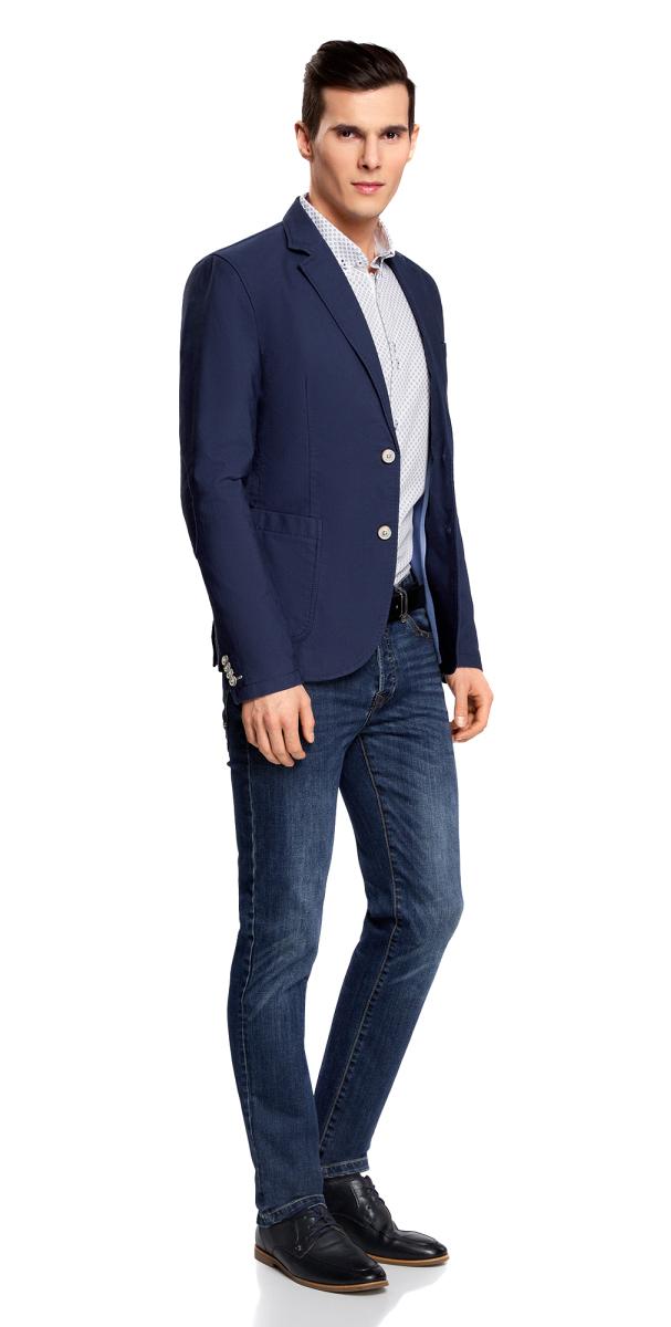 Пиджак мужской oodji Basic, цвет: синий. 2B510005M/39355N/7500N. Размер 52-182 (52-182)2B510005M/39355N/7500NМужской пиджак от oodji выполнен из натурального хлопка. Модель с накладными карманами, лацканами и длинными рукавами застегивается на пуговицы.