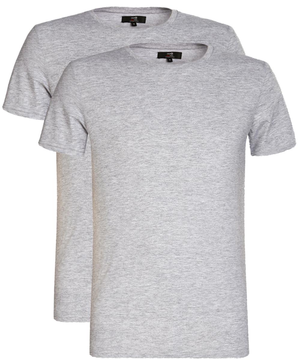 Футболка мужская oodji Basic, цвет: серый меланж, 2 шт. 5B621002T2/44135N/2300M. Размер M (50)5B621002T2/44135N/2300MБазовая мужская футболка от oodji с круглым вырезом горловины и короткими рукавами выполнена из натурального хлопка. В комплект входит 2 футболки.