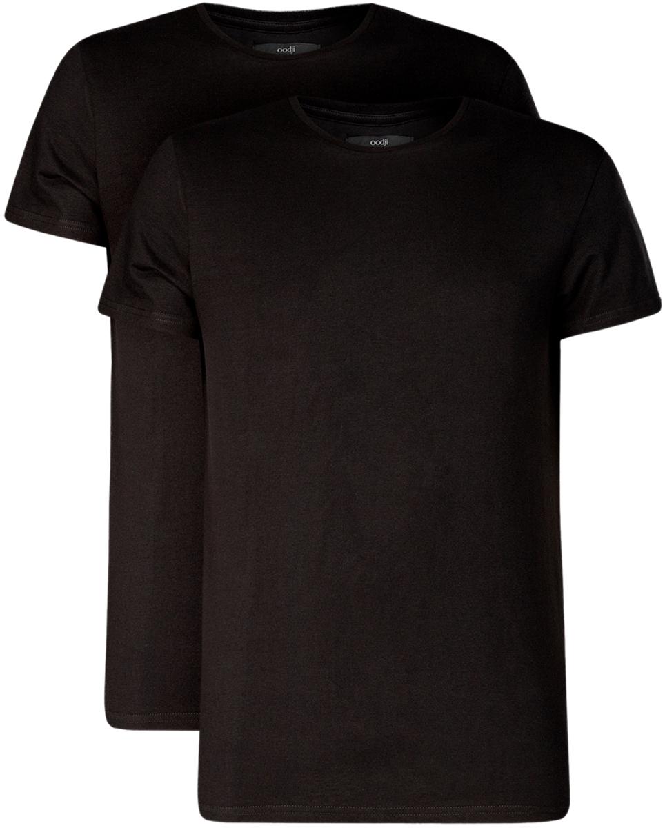 Футболка мужская oodji Basic, цвет: черный, 2 шт. 5B621002T2/44135N/2900N. Размер XXL (58/60)5B621002T2/44135N/2900NБазовая мужская футболка от oodji с круглым вырезом горловины и короткими рукавами выполнена из натурального хлопка. В комплект входит 2 футболки.