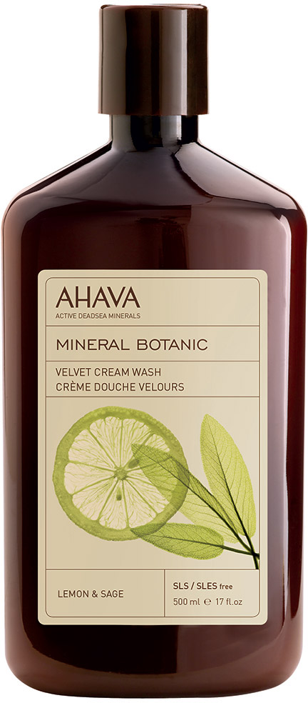 Ahava Mineral Botanic Бархатистое жидкое крем-мыло лимон и шалфей 500 мл мыло косметическое ahava deadsea mud мыло на основе грязи мертвого моря 100 гр