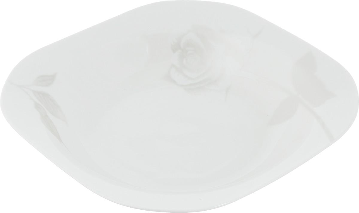 Тарелка суповая Жемчужная роза, 19,5 х 19,5 см216692Суповая тарелка Жемчужная роза, изготовленная из фарфора с глазурованным покрытием, декорирована изображением цветов. Такая тарелка украсит сервировку вашего стола и подчеркнет прекрасный вкус хозяина, а также станет отличным подарком. Размер тарелки: 19,5 х 19,5 см.