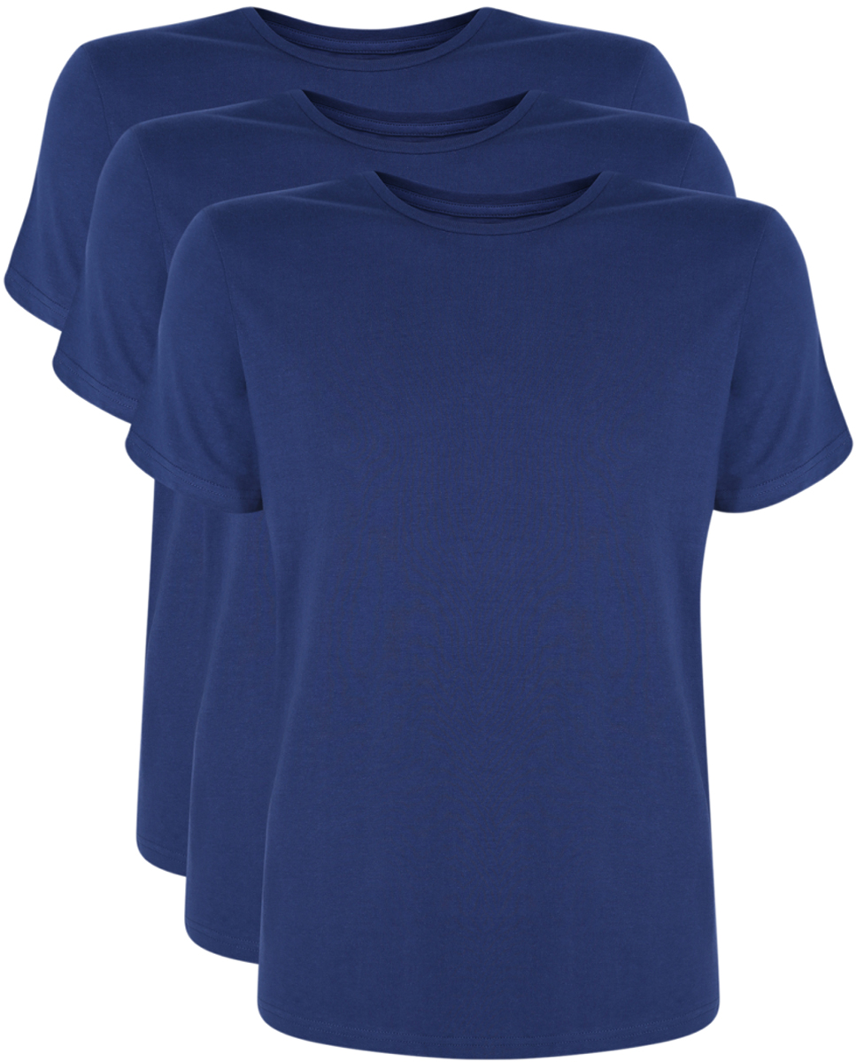 Футболка мужская oodji Basic, цвет: темно-синий, 3 шт. 5B621002T3/44135N/7900N. Размер XS (44) футболка мужская mitre цвет синий t70001rh2 размер xs 44 46